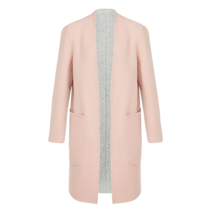 This oversized reversible coat is made of a beautiful wool blend fabric, with pale pink and soft grey options. Featuring front and side pockets, it's available in sizes 6 to 14.