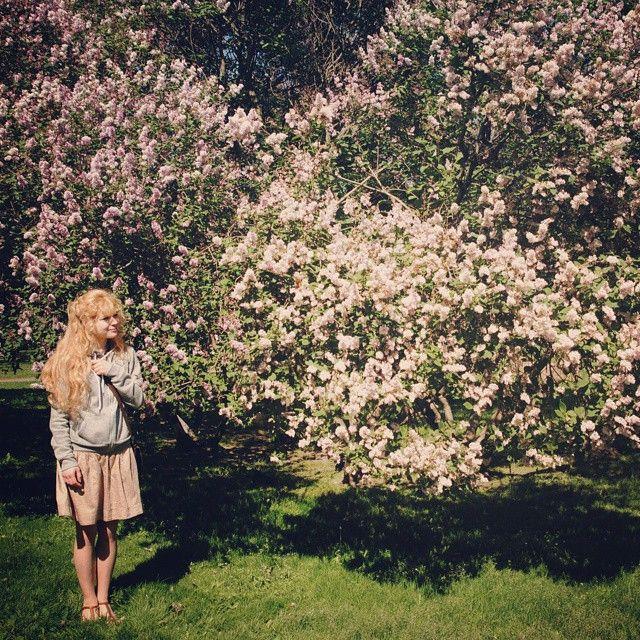 Самый ветренный день. Но он был идеальным, благодаря трем составляющим: огромные благоухающие кусты сирени в Смольном саду, милые веревочные качели в одном из его зеленых уголков и посиделки в уютной пекаренке с молочными коктейлями :) #vscocam #vscospb #lilac #garden #flowers #summer