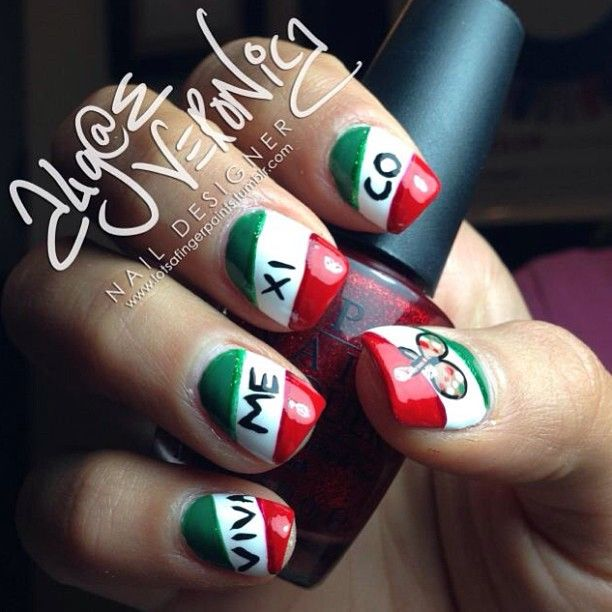 Get Festive Cinco De Mayo Mexican Flag She S Crafty Pinterest Nail Art Nails And Designs