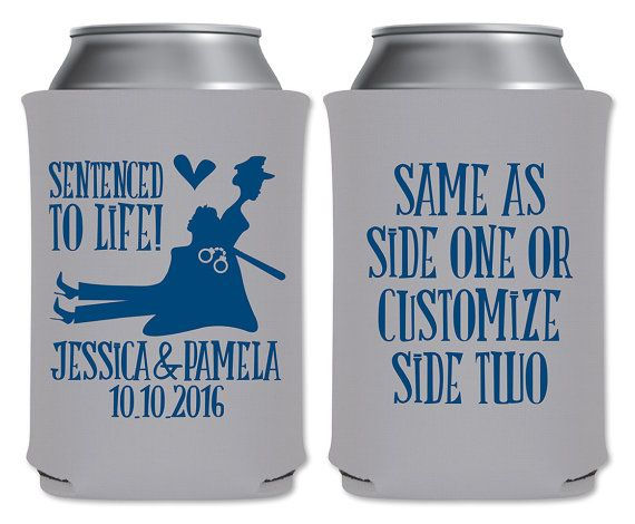 Same Sex Cop Wedding Coolers Personalized Gay Wedding/Policewoman Wedding Favors…