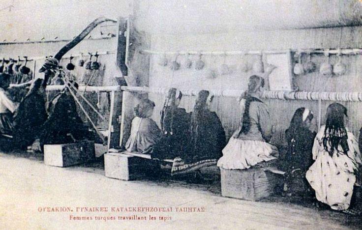Women making carpet in Ushak