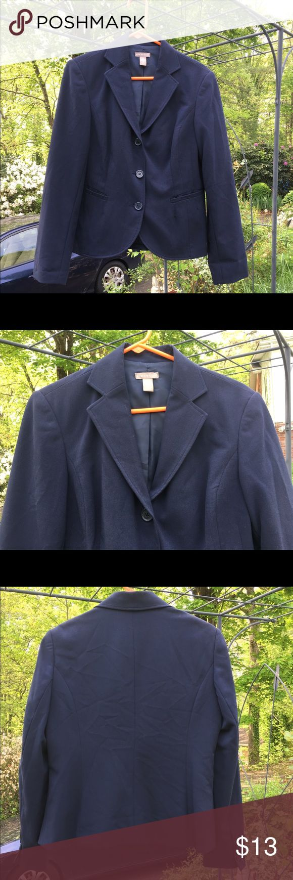 Kim Rogers Navy Blue Lined Blazer Jacket size 10 Kim Rogers lined Navy blue blazer jacket is size 10. Blazer has a collar, 2 pockets and closes with 3 buttons. Sleeves have 4 buttons each. Shell: I'm having trouble reading the numbers but looks like 63% polyester 33% rayon 4% spandex. Lining: 100% polyester. Made in Guatemala. Kim Rogers Jackets & Coats Blazers