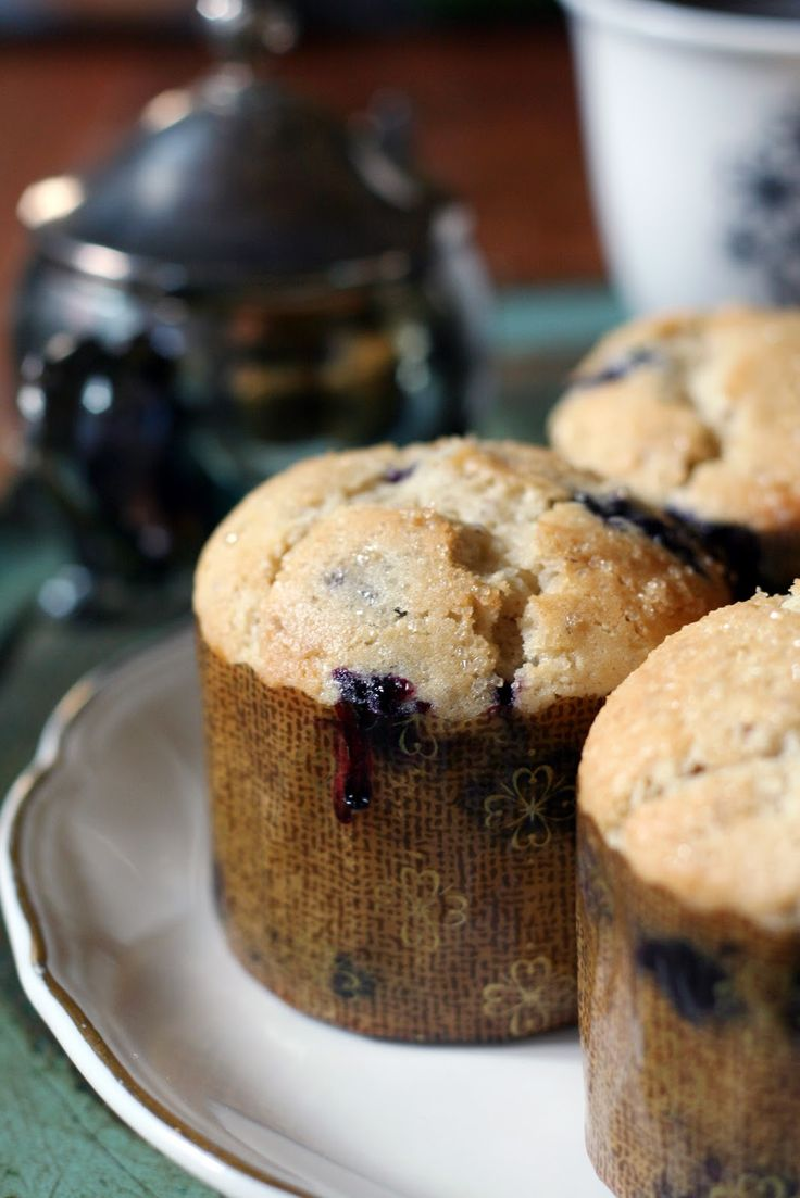 Best Blueberry Muffin Recipe, recipe by Communal Restaurant in Provo, Utah. Pinned from Vintage Mixer. Frozen blueberries are recommended. [I tried these tonight as a double batch and they are excellent! I subbed a small container of blueberry applesauce for part of the butter, and added a streusel on top. They look and taste like they're from a bakery!]