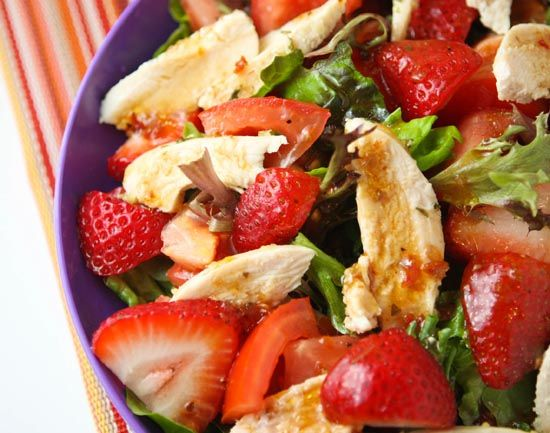 Strawberry chicken salad- easy and delicious, candied nuts would be a perfect addition