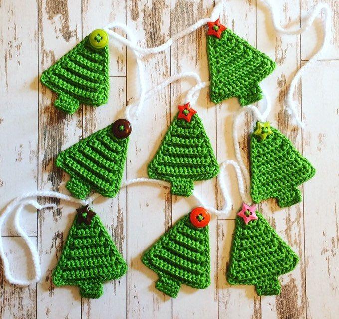 Crochet Pdf Pattern Christmas Tree Bunting Etsy Crochet Christmas Trees Pattern Crochet Christmas Ornaments Free Crochet Christmas Trees