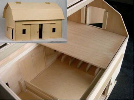 Hip roof toy barn all doors open has two sliding doors for Hip roof barns