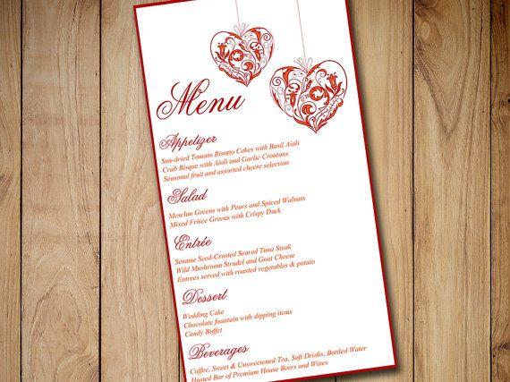 "Autumn Wedding Menu Card Template | ""Vintage Hearts"" Red Orange Fall Wedding EDITABLE TEXT | Downloadable Formal Wedding Menu by PaintTheDayDesigns"