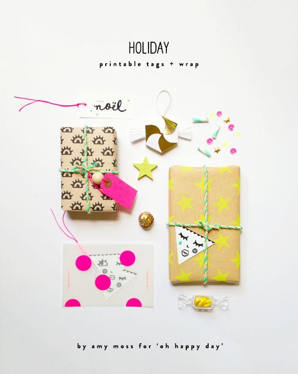 Papel de regalo de ojos y etiquetas triangulares >> Free printable tags and wrap