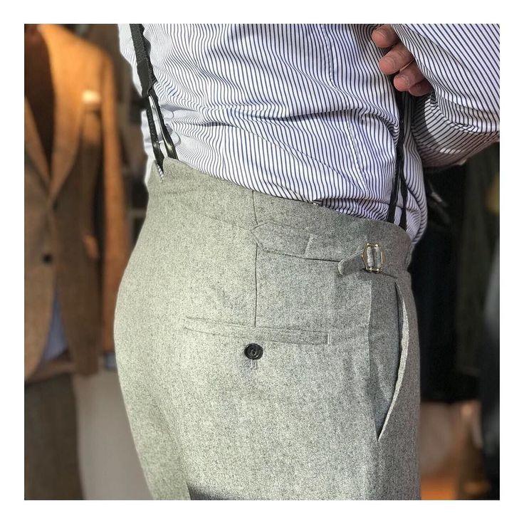 Fischtail trousers  #newtailor @huddersfieldfineworsted #flannel #braces @albertthurstonofficial