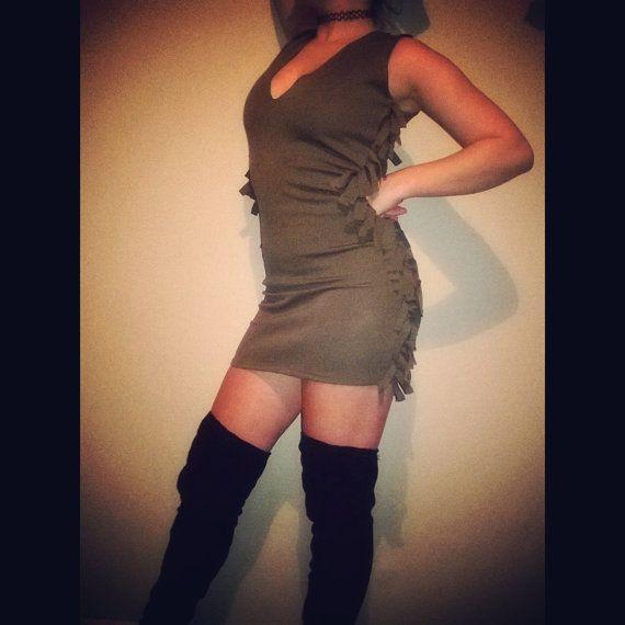 Check out Khaki Green Fringe Dress on funkyroxboutique