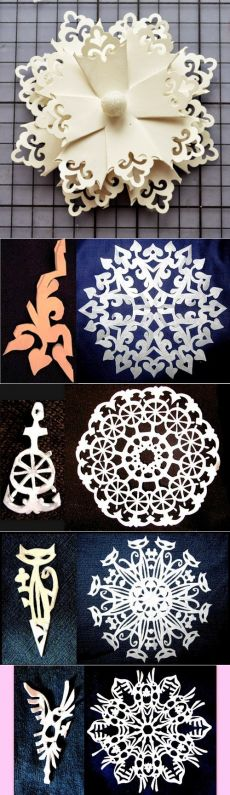 I love these paper snowflake patterns! I'm thinking of cutting them into freezer paper, ironing them onto a t-shirt and painting all around them.