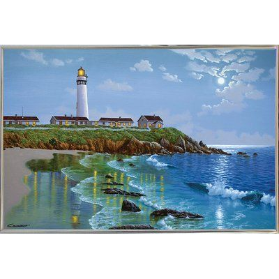 """Bay Isle Home 'Pigeon Point, CA' Graphic Art Print Format: Silver Metal Framed Paper, Size: 10.25"""" H x 15.75"""" W x 2"""" D"""