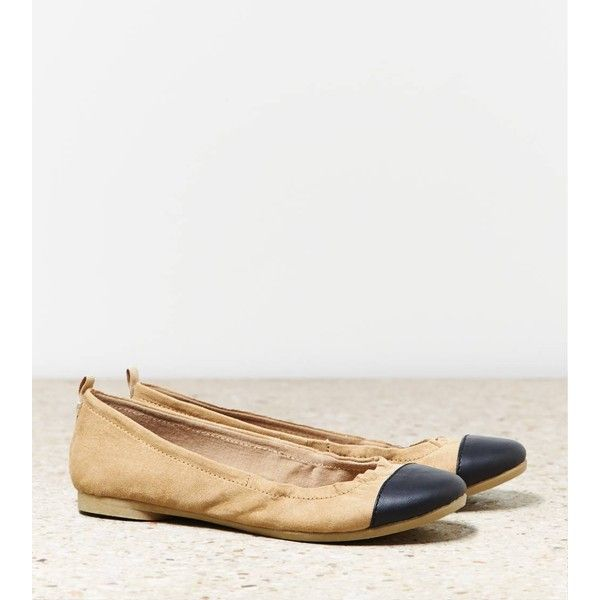 American Eagle Cap Toe Ballet Flat (£20) ❤ liked on Polyvore featuring shoes, flats, camel, ballet shoes flats, ballerina pumps, ballerina shoes, cap toe flats and camel shoes