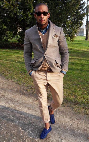 men 39 s brown blazer brown cable sweater blue denim shirt. Black Bedroom Furniture Sets. Home Design Ideas