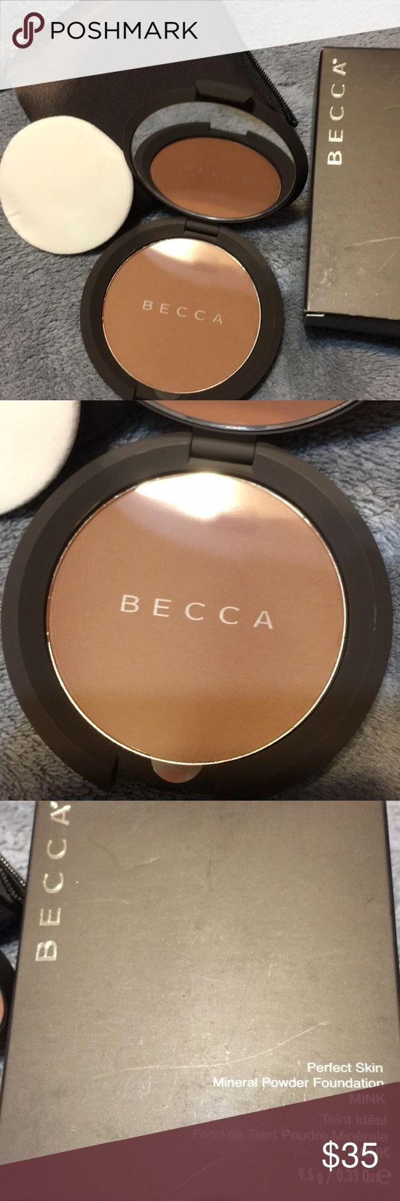 Becca perfect skin Mineral Powder Foundation Mink Description A silky powder foundation made of pure mineral pigments Lightweight & effortlessly glides on Deliver sheer finish that feels light & looks fresh all day Buildable coverage with antioxidant protection Leaves you a soft, smooth & luminous complexion Suitable for all skin types BECCA Makeup