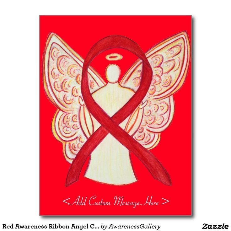 Red Awareness Ribbon Angel Custom Postcard