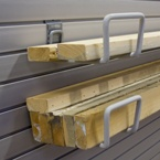 Lumber storage has never been easier with a few storeWALL Utility Hooks.