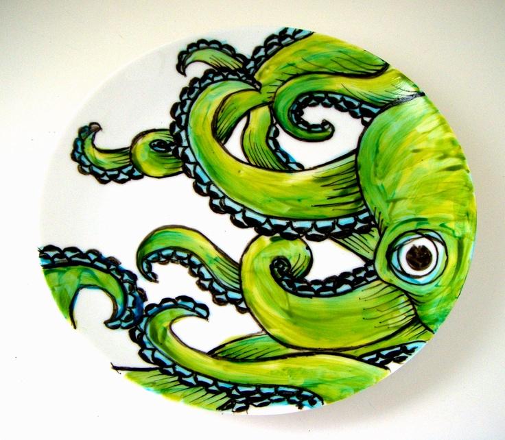 Ceramic Plate Green Octopus Kraken Sea Creature Nautical Decor Hand Painted Tentacles Wall Art Decorative Plate. $55.00, via Etsy.