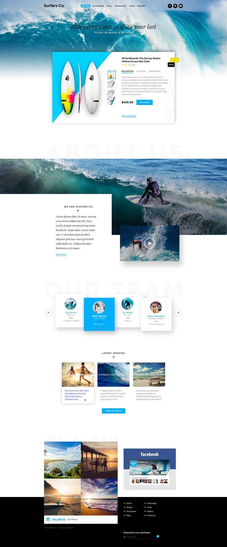Surfers Co Web Template PSD for Surf Shop