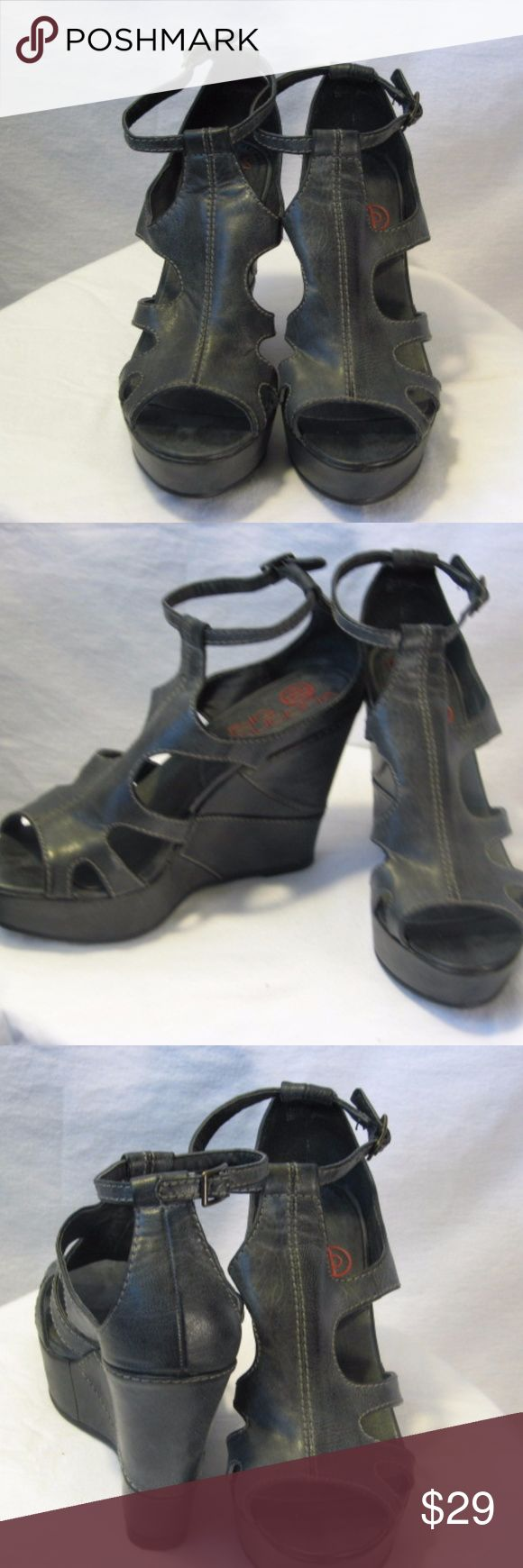 Big Buddha, Black Wedge Designer Sandals Black Wedge Scandals 5-inch heels Soft Leather New without box Big Buddha Shoes Mules & Clogs