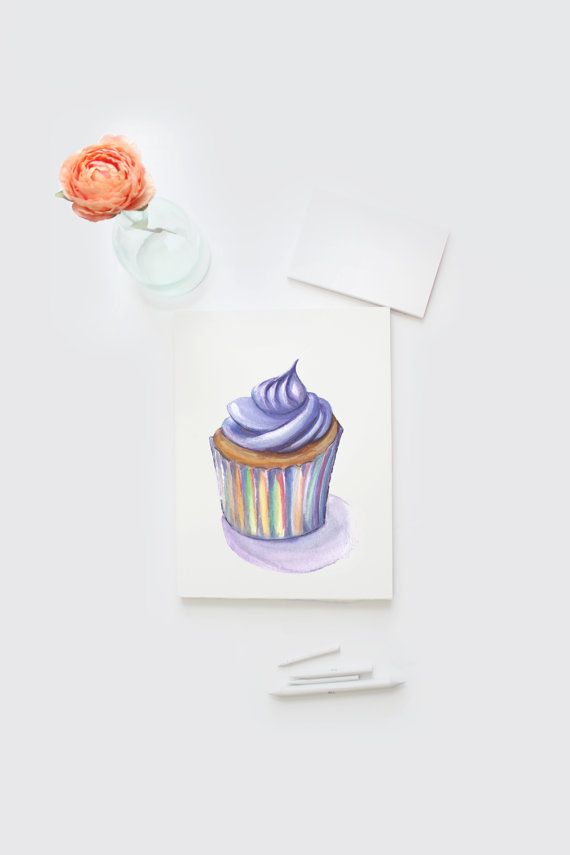 Watercolor cupcake card, hand painted gift card, DIY printable instant download, Watercolour Purple Cupcake greeting card, blank card, 8x5  Hand