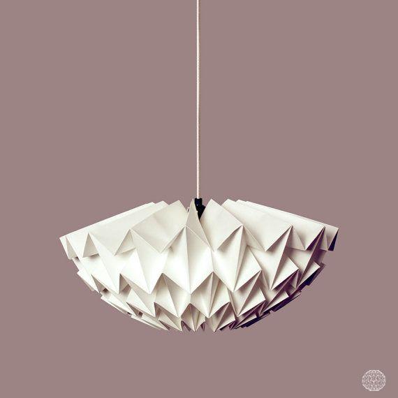 Lámpara origami: Discus blanco/pequeño
