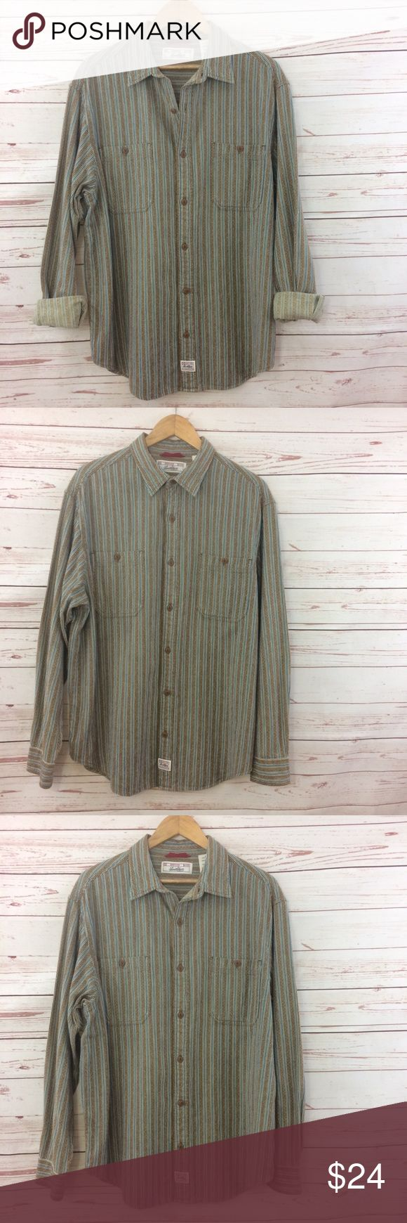 """Vintage Levi Stauss Signature Shirt Levi's vintage button down shirt. Two chest pockets with button closure. Stripes with a stitching pattern that is blue, tan, and white. 100% cotton. Measurements approximately as follows: chest 23.5"""", sleeves 25"""", length front 30"""" and back length is 31"""". R1 Levi's Shirts Casual Button Down Shirts"""
