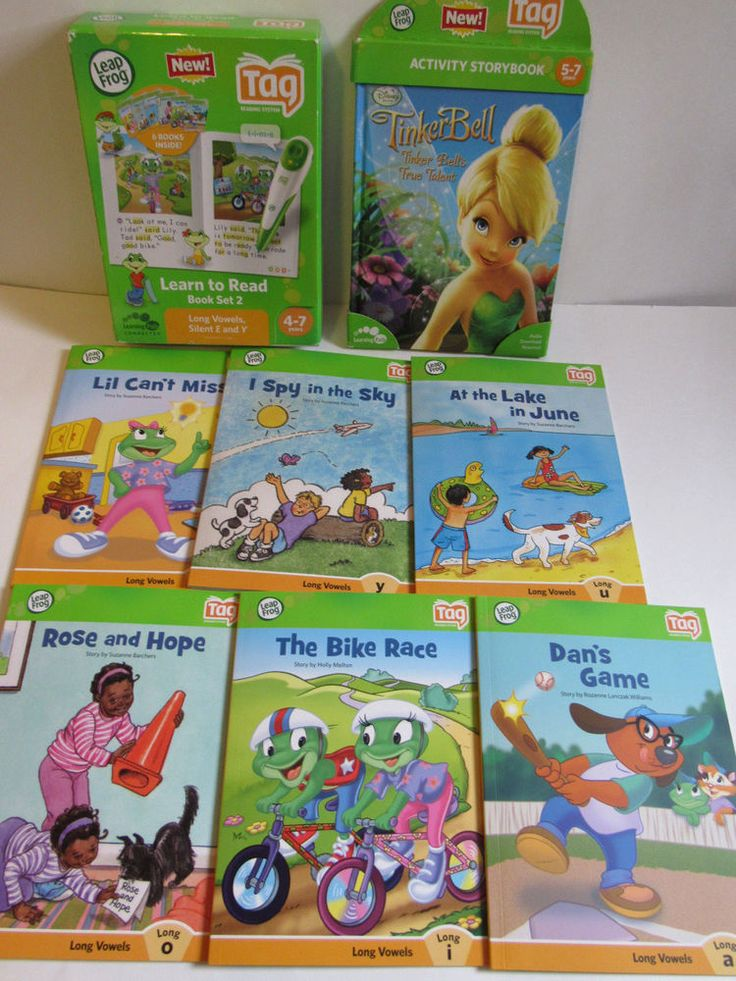 LeapFrog Book Set 2 Long Vowels, Silent E and Y Tinkerbell Tag System Bundle NEW #LeapFrog