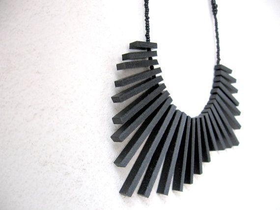 black sticks with black beads necklace  FREE by pergamondo on Etsy
