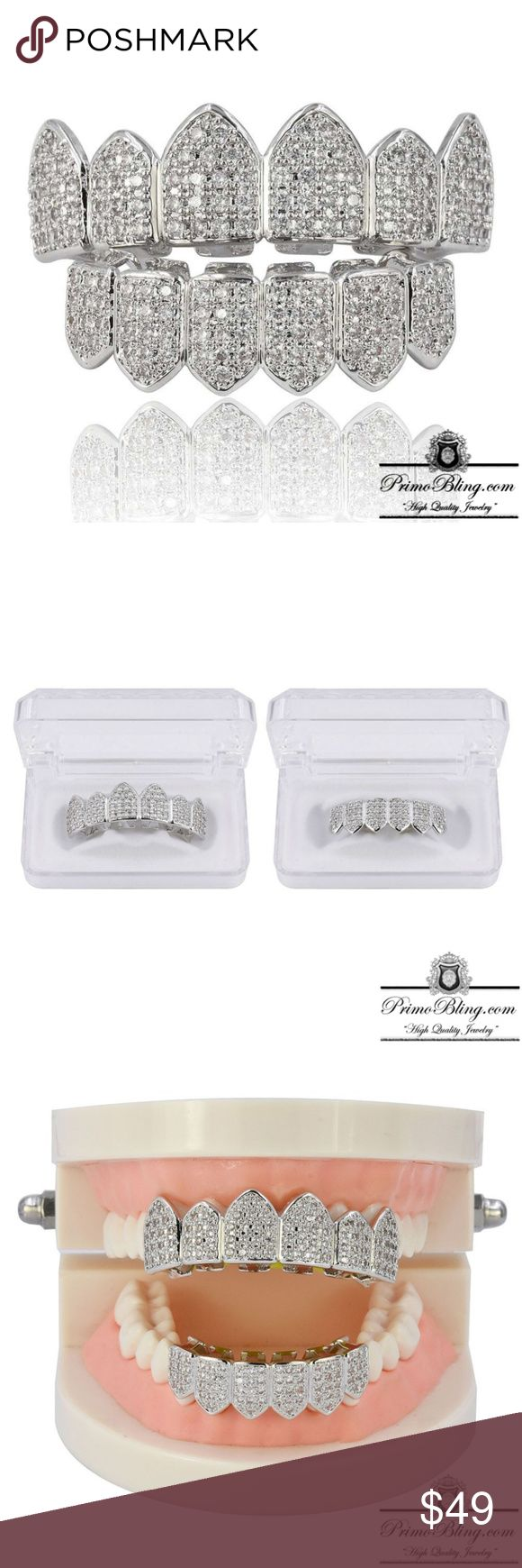 Silver Iced Out Bling Hip Hop Gangster Grillz Set These Hip Hop Grillz are very high quality with a shine that can be seen a mile away! If your looking for superior quality hip hop jewelry than this is the set for you!  1x Molding Kit included  Micro Pave Lab simulated CZ primobling Accessories Jewelry