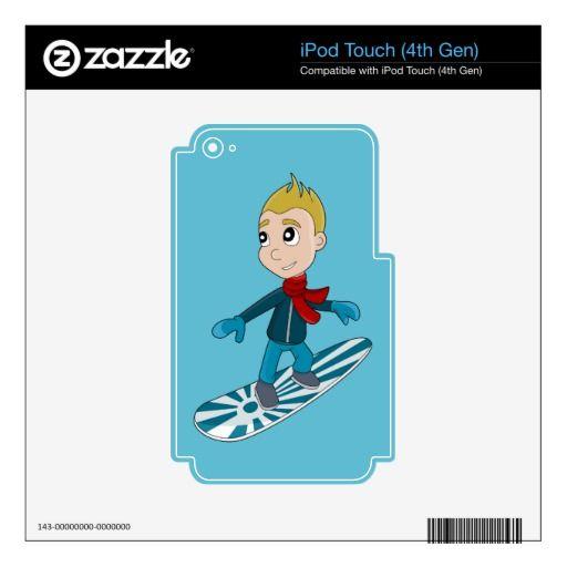 Snowboarding boy cartoon iPod skin