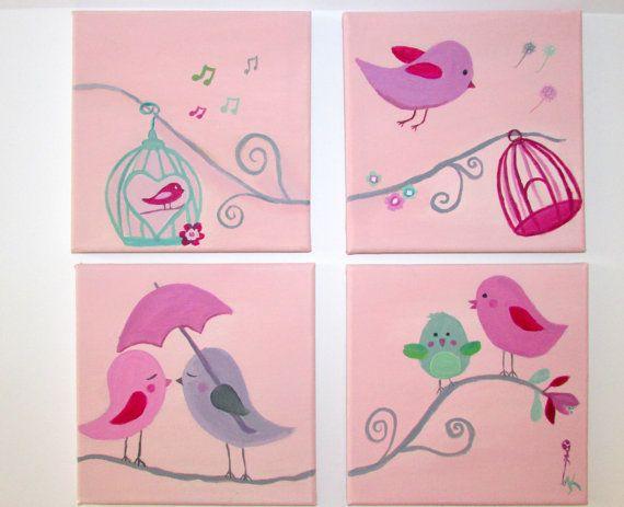 Little birds_girl's nursery-handmade canvas for children-baby shower gift-kids decor art-children's art-4 canvasses 20 cm x 20 cm