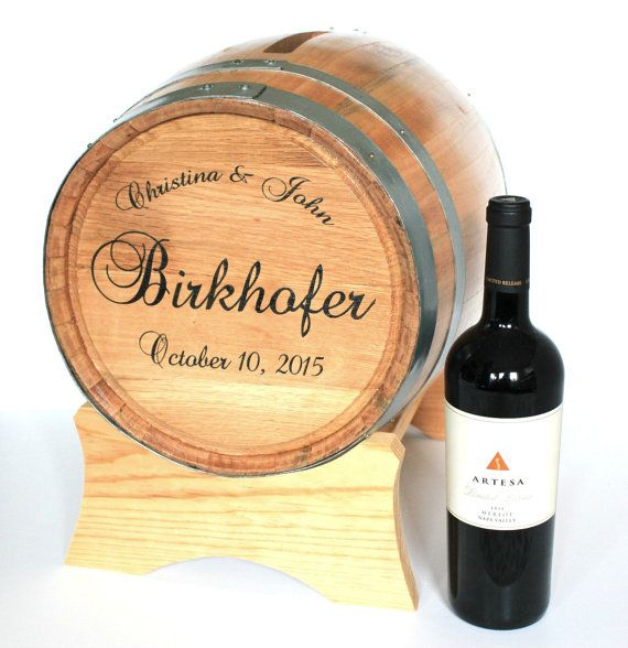 Wine Barrel Wedding Card Holder Engraved With by themanregistry