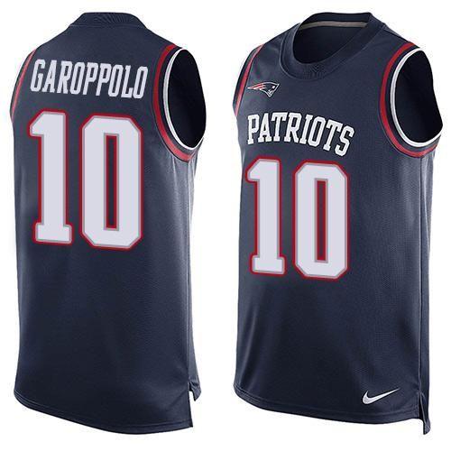 Nike Patriots #10 Jimmy Garoppolo Navy Blue Team Color Men's Stitched NFL Limited Tank Top Jersey