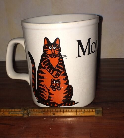 $23 free shipping! Vintage White Orange Momcat. Cartoon Ceramic Coffee Mug Gift Kiln Craft England #fun #novelty #mugs #coffee #cats #catlady #mom #momcat #mother #giftidea #desk #office #boss #ebay #shop #buy #cartoon #kangaroo #kitten #adorable #awesome #musthave #cute #retro #kilncraft