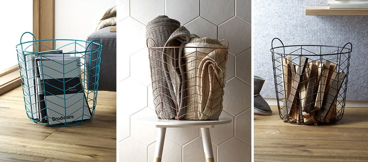Get creative! Turn a wire basket into a stylish storage solution!