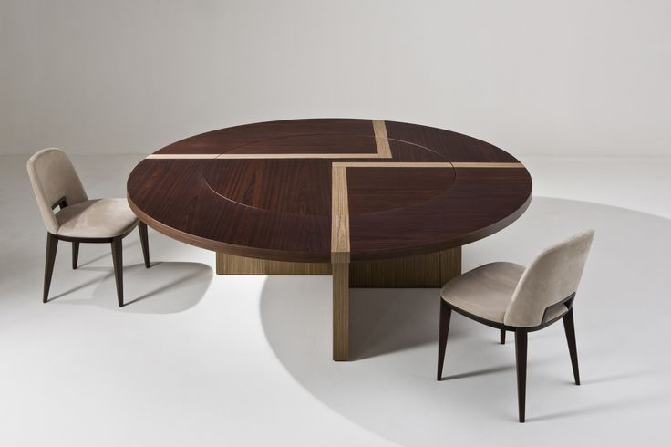 BD 07 T - Round table with wooden structure and top with wood inlay. This table can be made in special dimensions. By Bartoli design | Laurameroni
