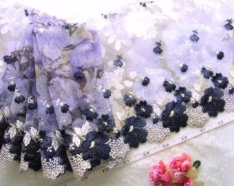 embroidered lace by the yard | Lace trim, Embroidered tulle lace, Embroidered net fabric, Violet lace ...
