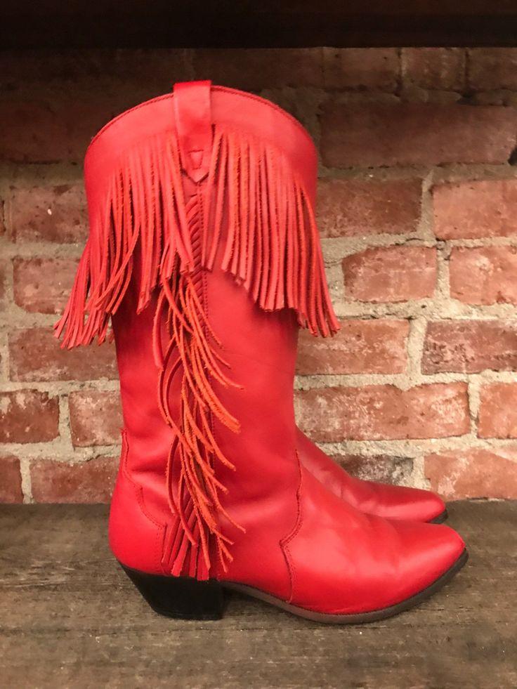 Oak Tree Farms Red Fringe Boots sz 8
