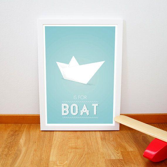 Retro boat origami print Nursery poster Mid par fromparistohelsinki, €14,00