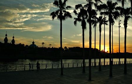 The Riverwalk at sunset.