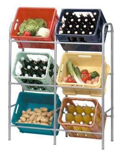 Flaschenkastenregal für 6 Kästen, Kastenregal, Regal mit Wandbefestigung, Stahlrohrgestell
