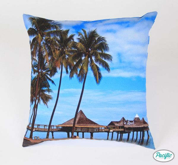 This cushion features the Le Roof restaurant stretching out over the water at Noumea in New Caledonia.  Printed on high quality non fade material.