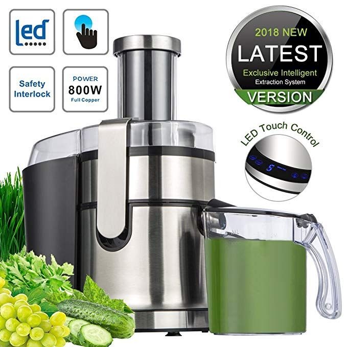 Somoya Je 80 Extractor Wide Mouth Masticating Juicer Machine Led Touch Control Function With Juice Jug Anti Drip 800w Juicer Masticating Juicers Juicer Machine
