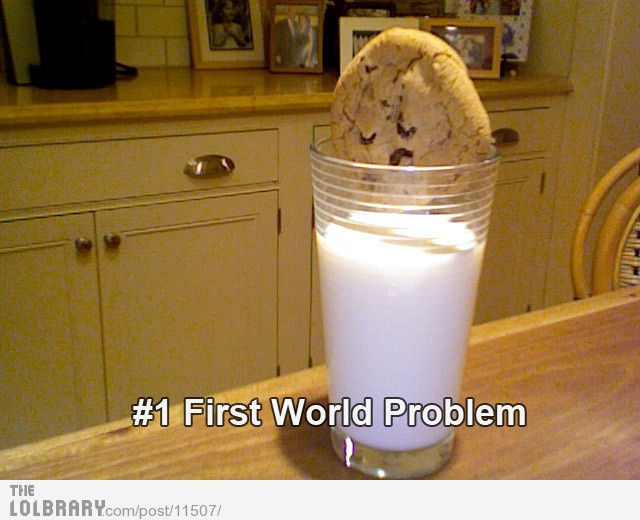 First world problem- Economic and Political,Daily Calorie Consumption and GDP factor as there are many people who can not even afford a glass of milk or a cookie and we are worrying about the whole cookie not fitting in the glass.