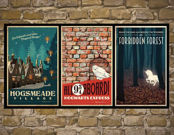 !11x17 inch! HARRY POTTER Set of 3 Travel Poster Vintage Harry Potter Print Geekery Wall Art House Warming Gift Children Room Decor