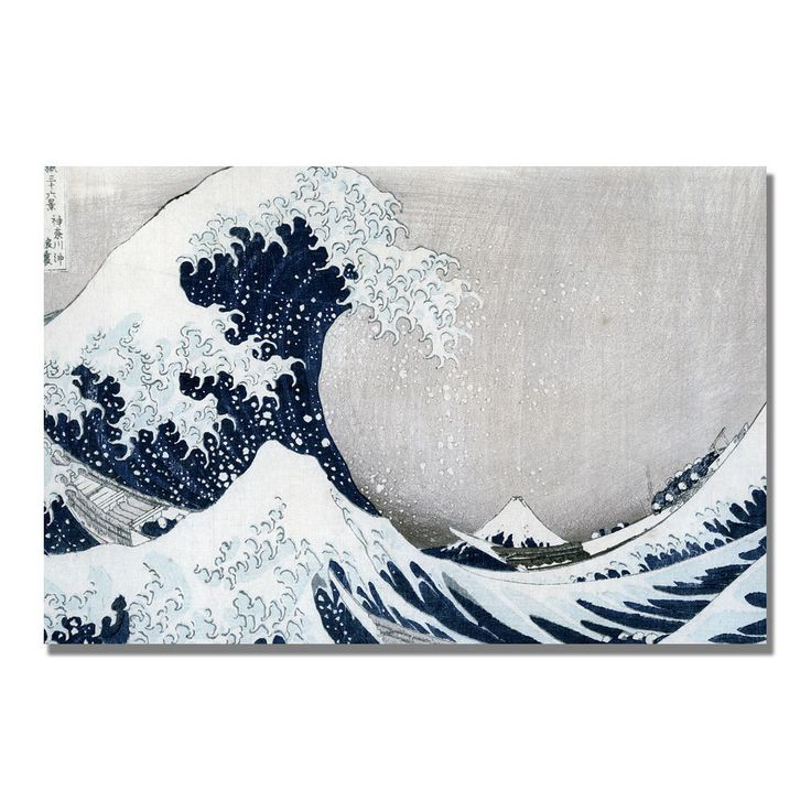 This ready to hang, gallery wrapped art piece features the Great Wave. Katsushika Hokusai was a Japanese artist, painter and printmaker of the Edo period. Hokusai is best known as author of the woodbl