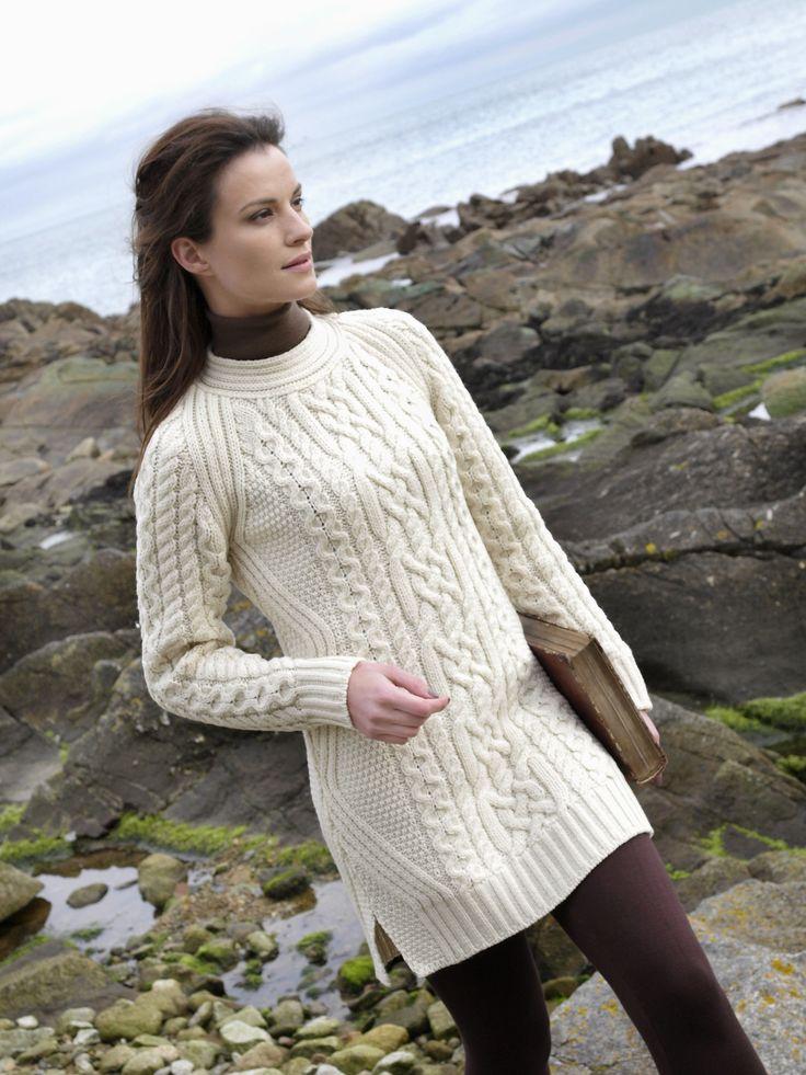 ирландский пуловер спицами сверху схема