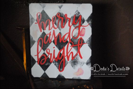 "Merry and Bright Harlequin sign.   Hand painted wood sign measures 14"" tall by 11"" wide. by DodiesDetails on Etsy"