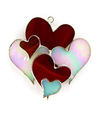 Stained Glass hearts night light cover, sun catcher or ornament for your special someone  :-)  www.switchables.net